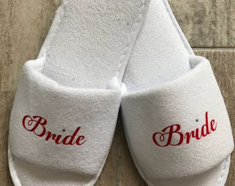 bride slippers, bridesmaid slippers, bridal party slippers, gift, spar slippers, mother of the bride slippers, will you be my bridesmaid