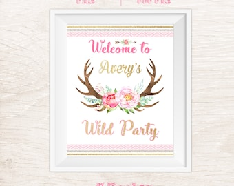 Wild One Welcome Sign Printable / Party Sign Printable