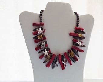 Genuine freshwater black pearl and coral necklace