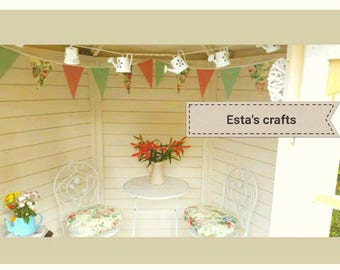Seat Cushions Garden Bistro Summerhouse Chair Cushions With Matching Bunting Sets Hand Made Shabby Chic Bespoke