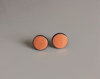 Earrings Stud, studs, round, coral,
