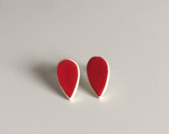 Stud Earrings, studs, drop, Red