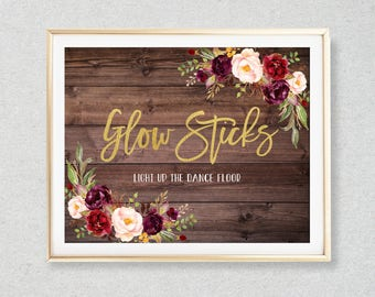 Glow Stick Sign, Wedding Glow Sticks Printable, Light Up The Dance Floor, Wood Floral Wedding Sign, Printable Wedding Sign, W87