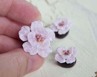 Lampwork beads - Сherry blossoms. Glass beads. Handmade beads. Flower beads. Lampwork flower beads.  Pink flower.