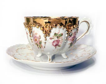 Antique Moriage Footed Tea Cup and Saucer Set Gold by BigMuddyVintageShop