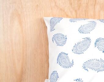 Blue Paisley Block Printed Cushion