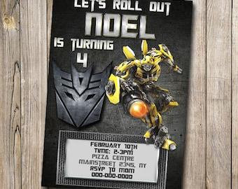 Transformer Bumble Bee Birthday Card, Customized Birthday Theme, Birthday Invite, Card Template, DIY, PSD, Digital Download