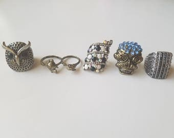 Vintage Antique Selection of Cocktail Rings - 1970's-Early 1990's - Silver Owl - Double Ring - Black/White - Skull - Large Silver Ring