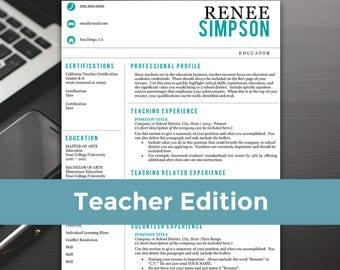 Teacher Resume Template - Teacher Resume, Word, Teacher Resume Cover Letter, Teaching Resume - RESUME TEMPLATE iNSTANT dOWNLOAD