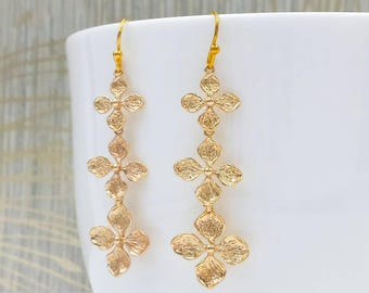 Clover Earrings, Four-Leaf Clover Earrings, Flower Dangle Drop Earrings, Cascading Earrings, Gold Wedding Bridal Bridesmaid Mom Gift For Her