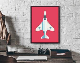 F4 Phantom Jet Fighter Aircraft Poster Wall Art Print