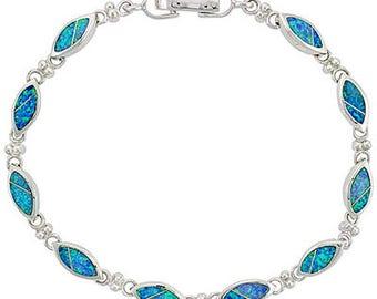 Sterling Silver Blue Opal Link Bracelet