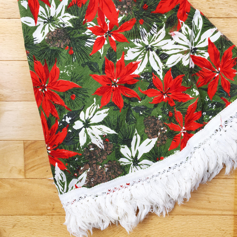 Vintage Christmas Table Cloth Mid Century Modern