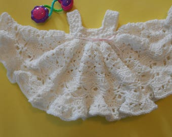 Crochet White Baby Dress Gown Party Holiday Baptism Dedication or Blessing  With Very Full  Circle Skirt Soft White Size 0  to 3 Months