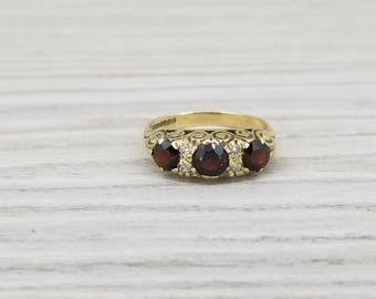 SPECIAL!!  Vintage garnet and diamond ring in yellow gold