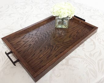 Oak Wooden Serving Tray, Oak Serving Tray, Dinner Tray, Wooden Dining Tray, Serving Platter, Wooden Dinner Platter, Handmade Serving Tray
