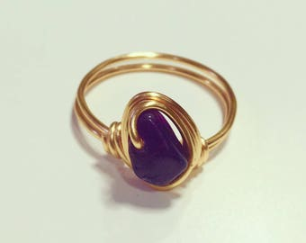 Gold Amethyst Ring • Amethyst Ring • Gemstone Ring • Gold Ring • Boho ring • Birthstone ring