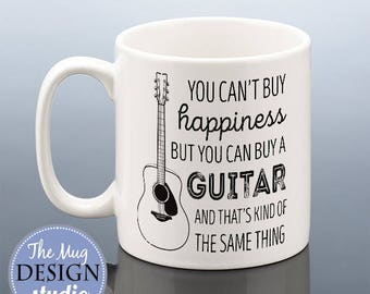 GUITAR MUG / Guitar Gift / Acoustic Guitar Gift / Guitar Birthday Gift for her / Guitar gift for him Guitarist Cup Present Friend Men Women