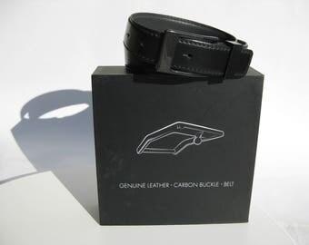 carbon fiber buckle - genuine leather belt - men's accessories