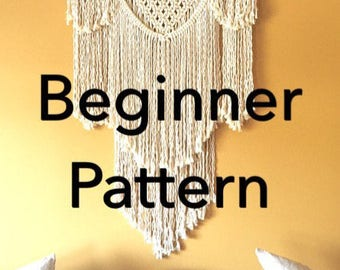"Pattern pdf DIY Macramé Wall Hanging ""Beauregard"" Beginner Swag Design Basic Instructions Macrame Fiber Arts Pattern Only"