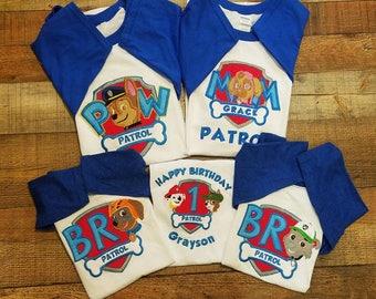 Sale !!  Paw Patrol Birthday Shirt, Sky, Marshal, Rubble, Tracker, Chase,  Everest Birthday Shirt, Pup to the Rescue Birthday Shirt