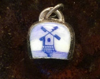 Delft enamel windmill Holland Netherlands cow bell vintage sterling silver charm necklace  pendant or keychain charm