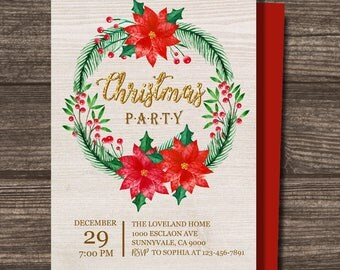 Christmas party invitation, watercolor invite, x-mas party invitation, Christmas wreath invite, custom invite, x-mas wreath invite,