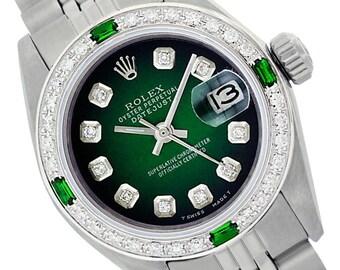 Rolex Lady Datejust 26mm Stainless Steel Green Vignette Diamond Dial Diamond Bezel - Pre-Owned