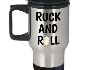 Rugby Travel Mug - Rugby Player Gift Idea - Present For Rugby Fan - Ruck And Roll