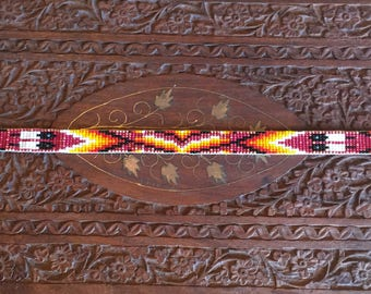 Vintage Native American tribal hand beaded hat band