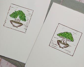 Premium handprinted artcard / Minature Bonsai Prints / Block Print / Greeting Card / Lino Cut / Greenery