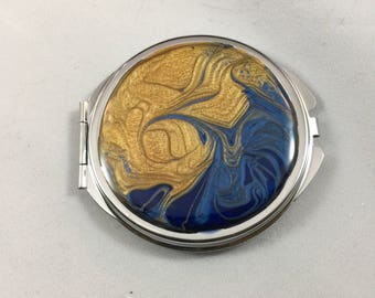 Ravenclaw Compact Mirror // Blue Gold Pocket Mirror // Abstract Art Purse Mirror // Harry Potter Compact // Notre Dame Compact Mirror