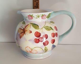 Large Zrike Hand Painted Ceramic Pitcher w/ Fruit Flowers & Butterflies