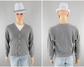 1960s Vintage Cardigan Sweater / Sears Mens Store / Kings Road / Mr. Rogers Sweater / Preppy Look / Size 38-40 / Golf Sweater / Medium