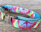 "Tie Dye 5/8"" Wide Dog Collar, Colorful Dog Collar, Small Dog Collar, Hippie Dog Collar, Nylon Webbing Silver Hardware"
