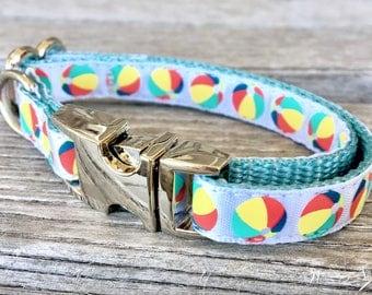 """Neon Beach Balls Teacup Dog Collar, Summer 3/8"""" Dog Collar, White Extra Small Dog Collar"""