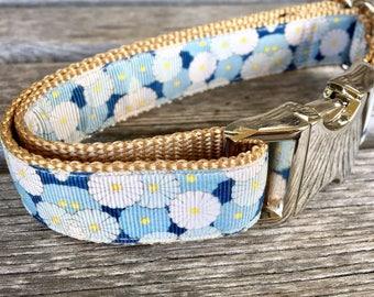"Shades of Blue 1"" Wide Dog Collar, Blue Flower Dog Collar, Nylon Webbing Silver Hardware Dog Collar"