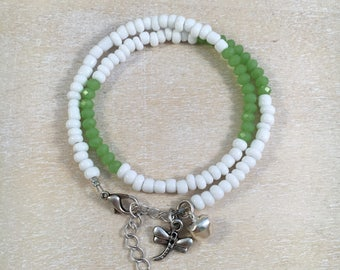 Wrap bracelet dragonfly green