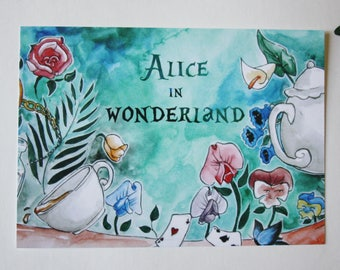 Art drawing print, Alice in wonderland, Postcard, Wonderland illustration