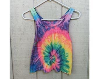 Neon Spiral Tie Dye Crop Top
