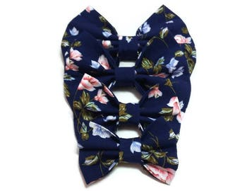 floral bow tie blue, dog party bowties, for cat , doggy ring bearer outfit men human boys toddler flower bowties