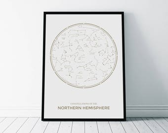 Constellations Print, Printable Art, Northern Hemisphere, Astronomy Art Print, Stars, Constellations Poster, Astronomy Poster, Zodiac Art