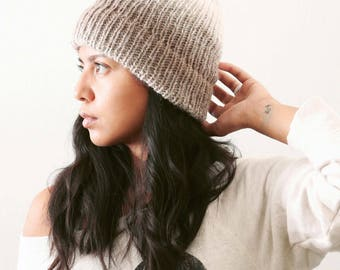 Knitted Winter Hats // Knitted Beanie // Unisex Beanie // Gifts for Men // Gifts for Women // Ombré Beanie in Cream & Taupe