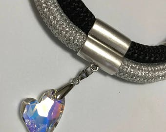 Necklace with climbing and Swarovski ropes