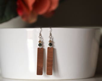 Leather Strip Earrings with Black and Champagne beads