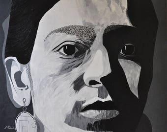 Frida Kahlo Portrait entitled With original painting