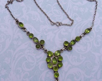 Beautiful Vintage Peridot and Hallmarked Silver Necklace.
