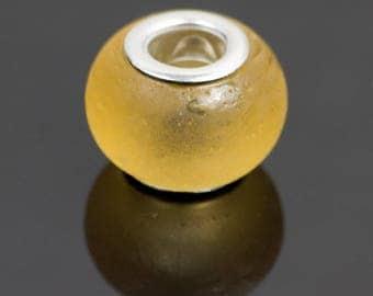 10 yellow translucent glass - 28301 European style beads