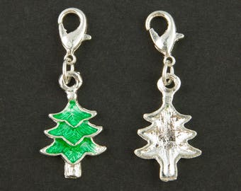 "2 charms ""Christmas tree"" enameled Green"