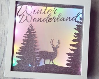 Winter wonderland stag frame, LED light frame, deer, stag lamp, rainbow lights, stag papercut, wall light, christmas light, christmas gift